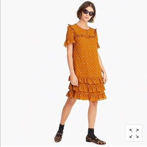 J Crew Ruffle Dress in Crinkle Chiffon 16 Caramel